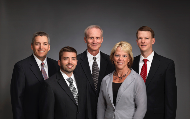 Picture of Minster Bank's Private Wealth Management team-Steve Eiting, Bryan Cenky, Mark Henschen, Lorrie Loughridge, Andy Schmitmeyer